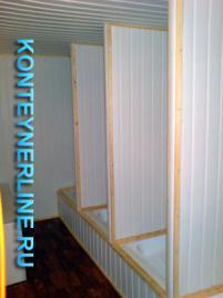Блок контейнер, Металлические бытовки, БК-07 душевая и туалет